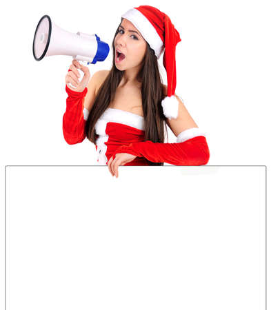 Isolated Young Christmas Girl With Megaphone Stock Photo - 16518682