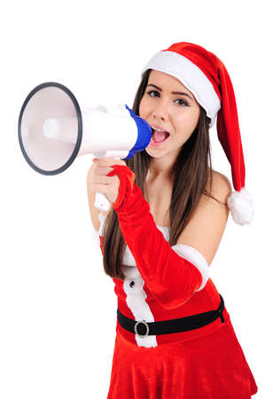 Isolated Young Christmas Girl With Megaphone Stock Photo - 16518705