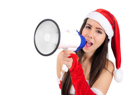 Isolated Young Christmas Girl With Megaphone photo