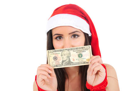 Isolated Young Christmas Girl With Dollar photo