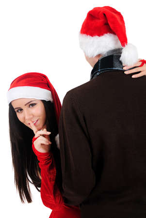 Isolated Young Christmas Couple Surprise Stock Photo - 16518699