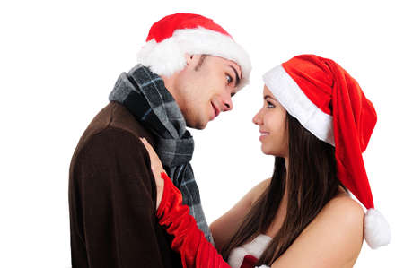 Isolated Young Christmas Couple Kiss Stock Photo - 16518695
