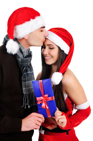 Isolated Young Christmas Couple Holding Envelope Stock Photo - 16518703