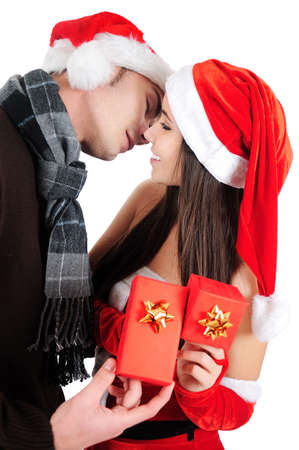 Isolated Young Christmas Couple Kiss Stock Photo - 16518704