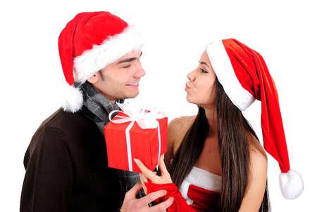 Isolated Young Christmas Couple Kiss Stock Photo - 16518700