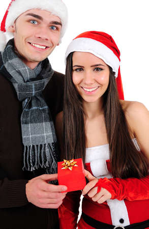 Isolated Young Christmas Couple Standing Stock Photo - 16518709