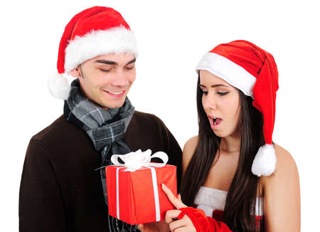 Isolated Young Christmas Couple Celebration Stock Photo - 16518697