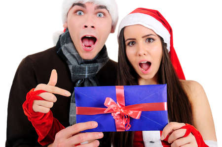 Isolated Young Christmas Couple Shocked Stock Photo - 16518696