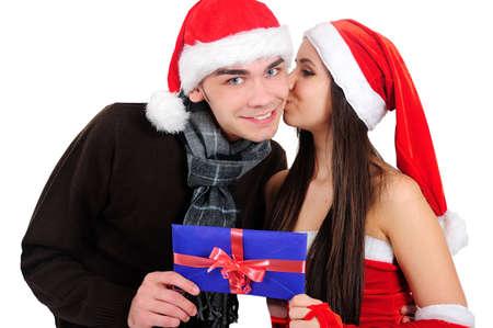 Isolated Young Christmas Couple Kiss Stock Photo - 16518706