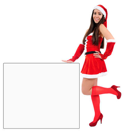 Isolated Young Christmas Girl Leaning Stock Photo - 16548094