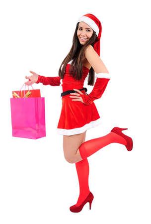 Isolated Young Christmas Girl With Shopping Bag Stock Photo - 16548060