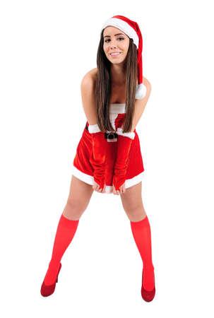 Isolated Young Christmas Girl Posing Stock Photo - 16548051