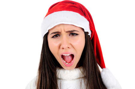 Isolated Young Christmas Girl Screaming photo
