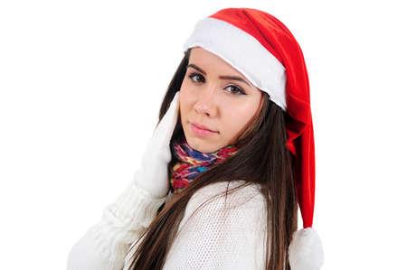 Isolated Young Christmas Girl Standing Stock Photo - 16548006