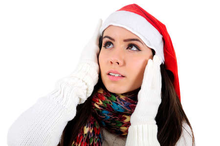 Isolated Young Christmas Girl Dreaming Stock Photo - 16548009
