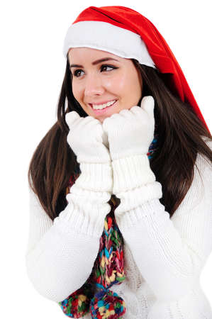 Isolated Young Christmas Girl Wish Stock Photo - 16548014
