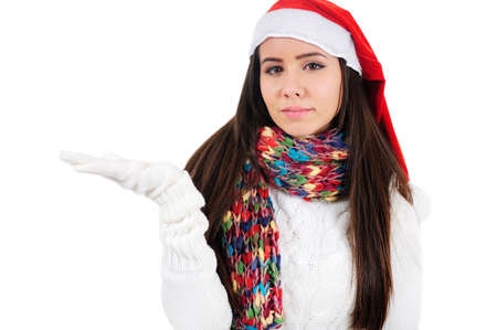 Isolated Young Christmas Girl Presenting Stock Photo - 16548003