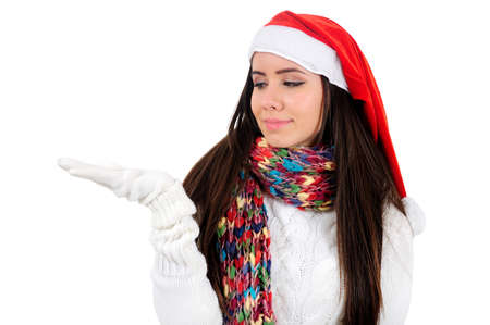 Isolated Young Christmas Girl Holding Palm Stock Photo - 16548002