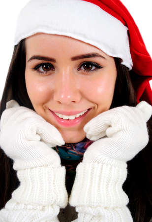 Isolated Young Christmas Girl Standing Stock Photo - 16548017