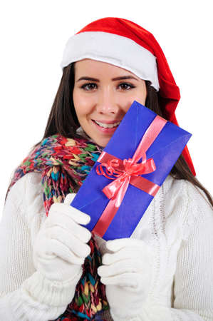 Isolated Young Girl Holding Carta de Navidad photo