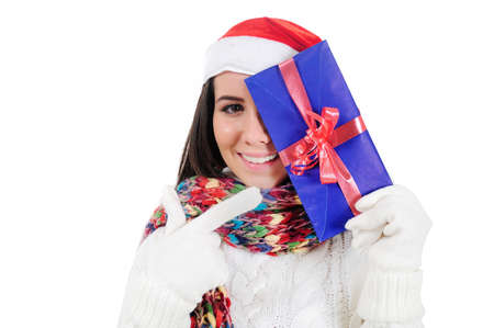 Isolated Young Christmas Girl Holding Letter Stock Photo - 16548004