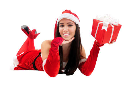 Isolated Young Christmas Girl Holding Gift Stock Photo - 16548068