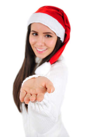 Isolated Young Christmas Girl Giving Product photo
