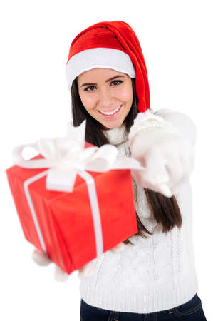 Isolated Young Christmas Girl Pointing You Stock Photo - 16599033