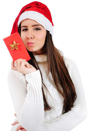 Isolated Young Christmas Girl Kiss Gift photo