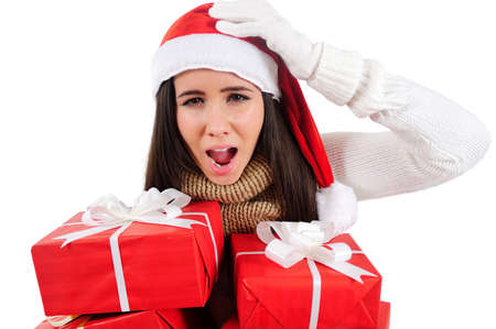 Isolated Young Christmas Girl Holding Group Gift Stock Photo - 16599048