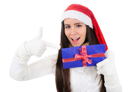 Isolated Young Christmas Girl Pointing Letter Stock Photo - 16599030