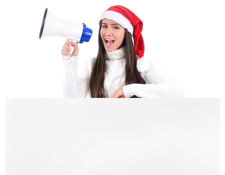 Isolated Young Christmas Girl With Loudspeaker Stock Photo - 16599015
