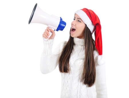 Isolated Young Christmas Girl With Loudspeaker Stock Photo - 16599038