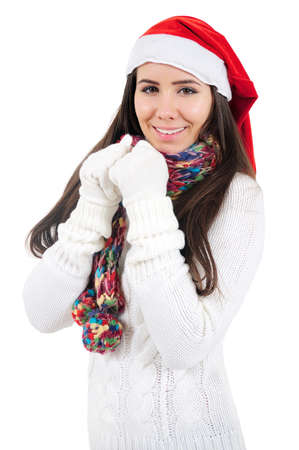 Isolated Young Christmas Girl Standing photo