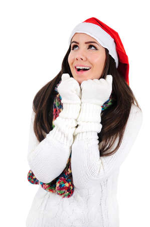 Isolated Young Christmas Girl Amazed photo