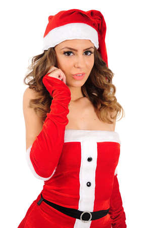 Isolated young christmas woman shy photo