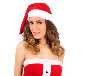 Isolated young christmas woman sensual photo