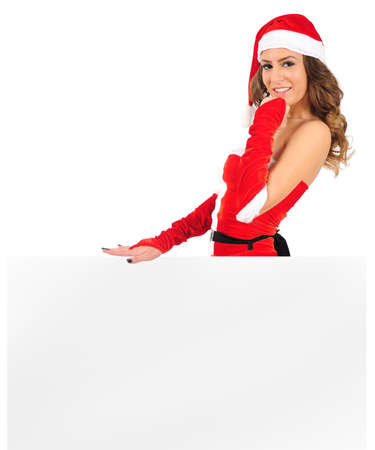 Isolated young christmas woman leaning photo