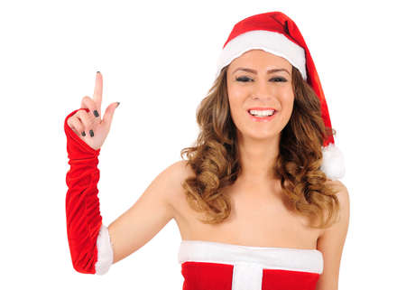 Isolated young christmas woman photo