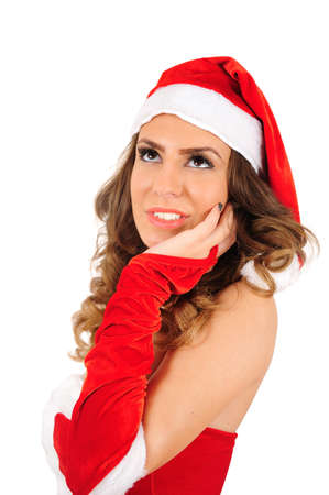 Isolated young christmas woman thinking photo