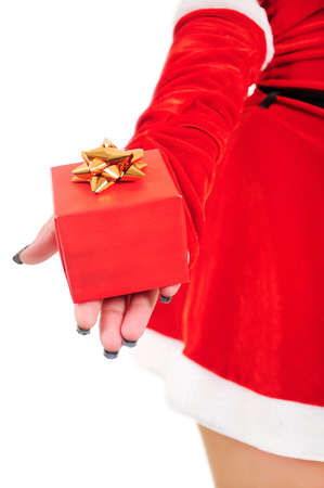 Isolated young christmas giving gift photo