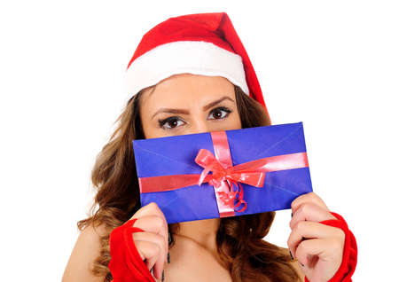 Isolated young christmas woman with letter Stock Photo - 16641109
