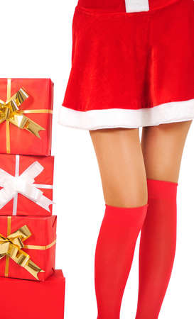 Isolated young christmas woman legs photo