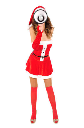Isolated young christmas girl with loudspeaker Stock Photo - 16641262