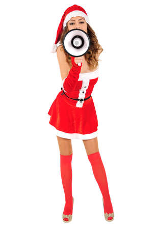 Isolated young christmas girl with loudspeaker Stock Photo - 16641246