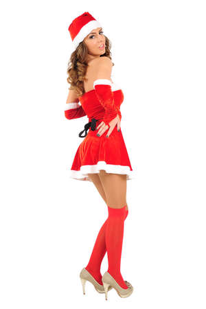 Isolated young christmas girl sensual photo