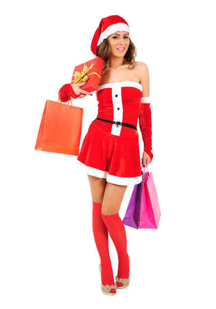 Isolated young christmas girl with shopping bag Stock Photo - 16641243