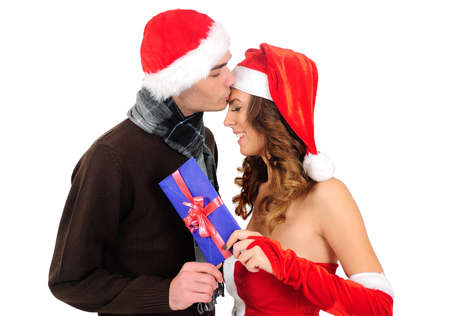 Isolated young christmas couple celebration Stock Photo - 16641084