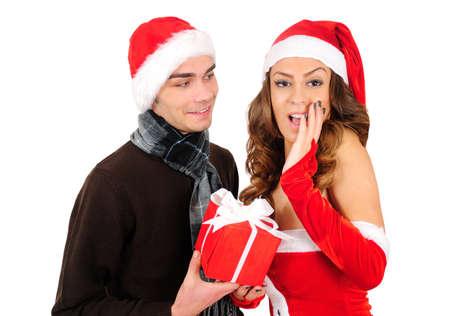 Isolated young christmas couple celebration Stock Photo - 16641087