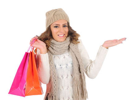 Isolated young casual woman with shopping bag Stock Photo - 16641151